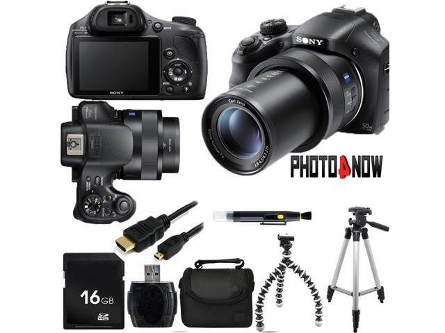 SONY Cyber-shot HX400 DSC-HX400/B Black 20.4 MP 50X Optical Zoom Digital Camera HDTV Output With Essential Bundle