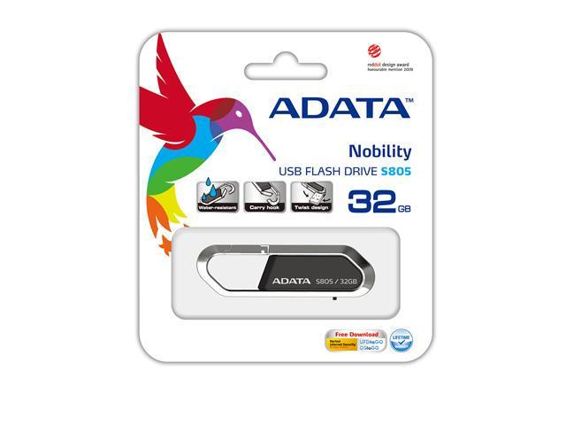 32GB ADATA S805 Sports Series Carabiner Keychain USB Flash Drive (Gray). Model AS805-32G-RGY