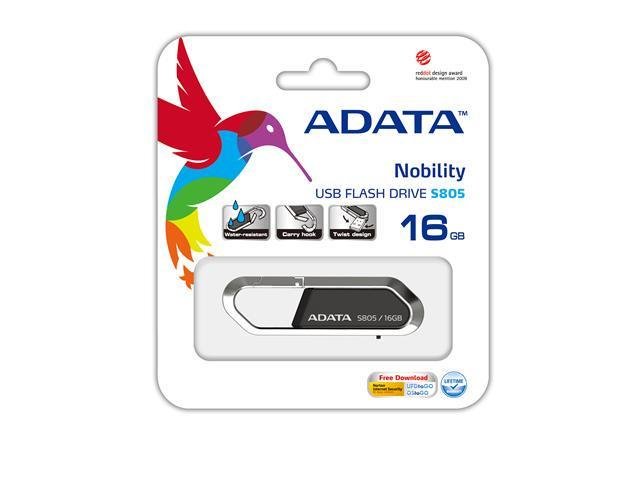 16GB ADATA S805 Sports Series Carabiner Keychain USB Flash Drive (Gray). Model AS805-16G-RGY