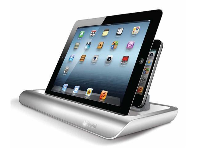 i.Sound Power View Pro S Charge and View Dock For all Apple iPad 1 2 & 3, all iPhones, all iPod touches and more. Color: Aluminum/Gloss White