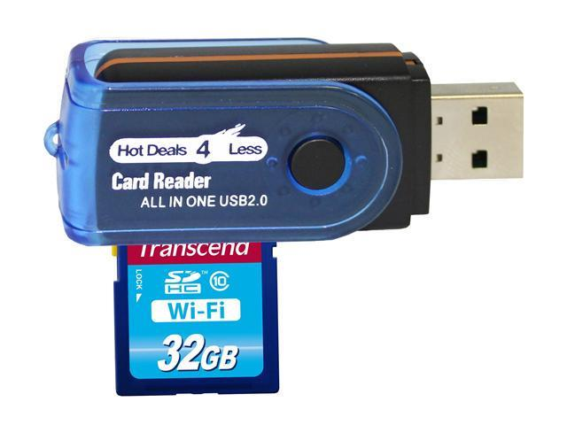 Transcend 32GB wireless Wi-Fi SD SDHC Class 10 Memory Card. Stream Photos and Videos. Comes with Hot Deals 4 Less All in One USB High Speed Card Reader. Model TS32GWSDHC10