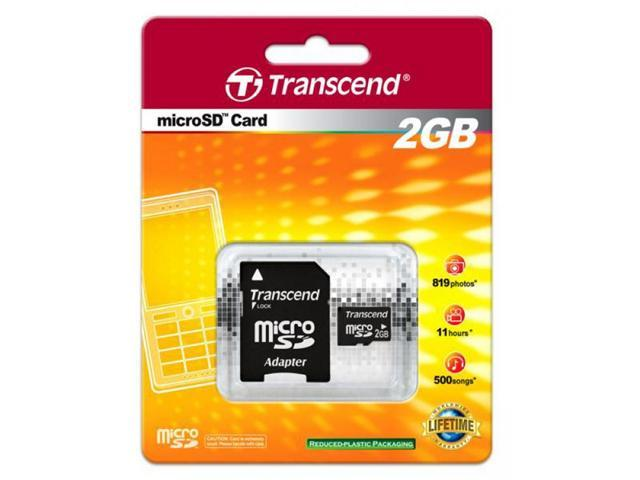 Transcend 2GB microSD with SD adapter Memory Card Model TS2GUSD
