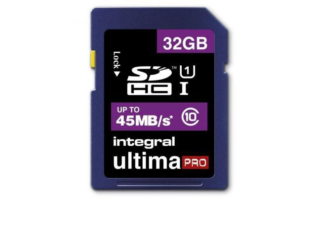 Integral 32GB Ultima Pro SDHC UHS-1 Memory Card Class 10 High Speed 45MB\Sec Model INSDH32G10-45