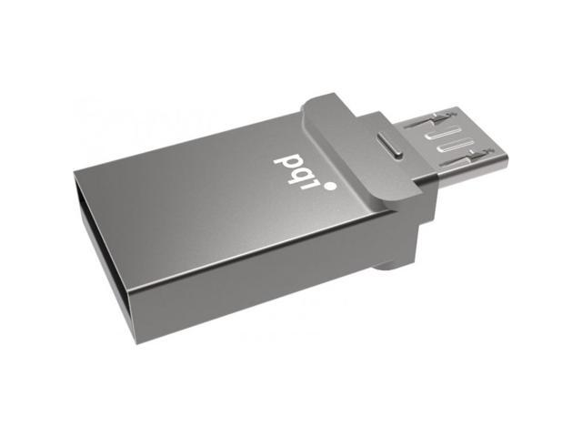 32GB PQI USB Backup and Storage for Smartphone and Tablet with OTG Support. Dual interface Micro USB Connects Directly into your Android devices and USB to plug into your PC if needed. Model 6837-032G