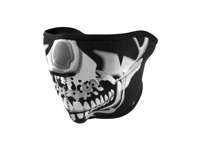 Zan Headgear Neoprene Half Face Mask Chrome Skull OSFM