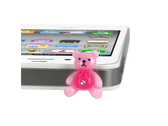 MiniSuit Universal Cell Phone Dustplug for 3.5mm Earphone Jack Cap (Pink Teddy Bear)