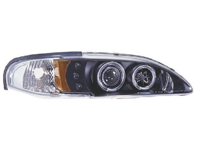 IPCW CWS-519B2 Ford Mustang 1994 - 1998 Head Lamps, Projector With Rings & Corners Black