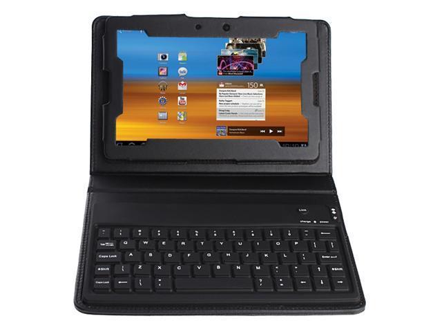 Wireless Bluetooth 2.0 Keyboard w/ Leather Case for Blackberry Playbook - Black