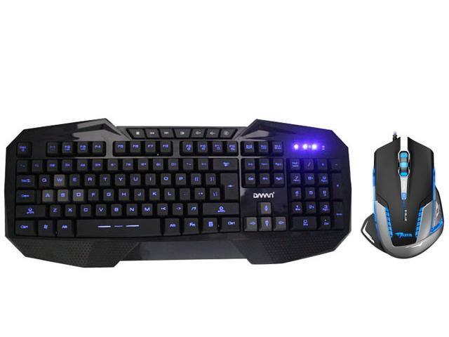 LED Illuminated Ergonomic USB Wired Multimedia Blue Backlight Backlit Gaming Keyboard w/ 2500 DPI Blue LED Optical USB Wired ...