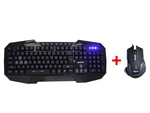 AGPtek LED Illuminated Ergonomic USB Wired Multimedia Blue Backlight Backlit Gaming Keyboard w/ 2500DPI Blue LED Optical USB Wired Gaming Mouse Mice for PC Laptop