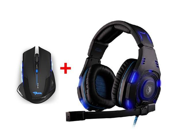 Over-ear Professional Stereo Headset Headband Pc Pro WCG Games Headphones w/ 2500DPI USB 2.4GHz Wireless Optical Gaming Mouse for PC Laptop