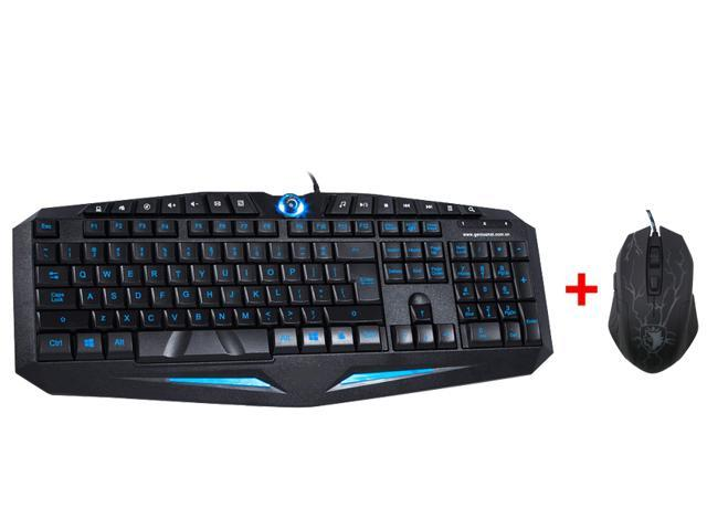 Blue/Red LED Illuminated Ergonomic Backlight Gaming USB Wired Keyboard w/ 3500DPI Adjustable 4-Level DPI LED Gaming Game ...