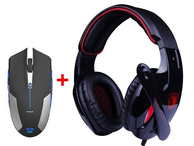 7.1 Surround Professional USB 2.0 Gaming Headset Headphones w/ Mic + 2.4GHz Blue LED 6 Button Optical USB Wireless Gaming ...