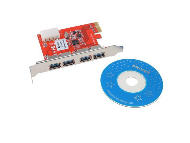USB 3.0 PCI-e Express Card with 4 USB 3.0 Ports and 5V 4-Pin Power Connector for Desktops PCI Express Expansion Card Adapter ...