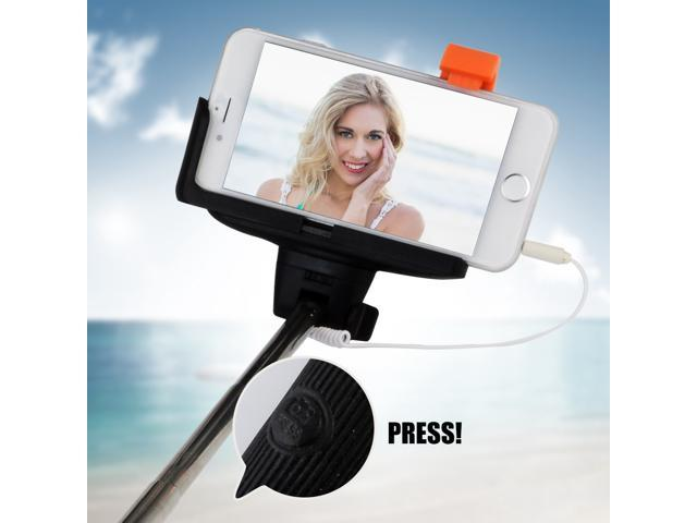 extendable wired remote shutter phone holder handheld selfie stick monopod with mirror for. Black Bedroom Furniture Sets. Home Design Ideas