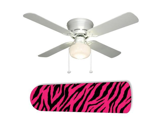 "Zebra Pink and Black 42"" Ceiling Fan with Lamp"