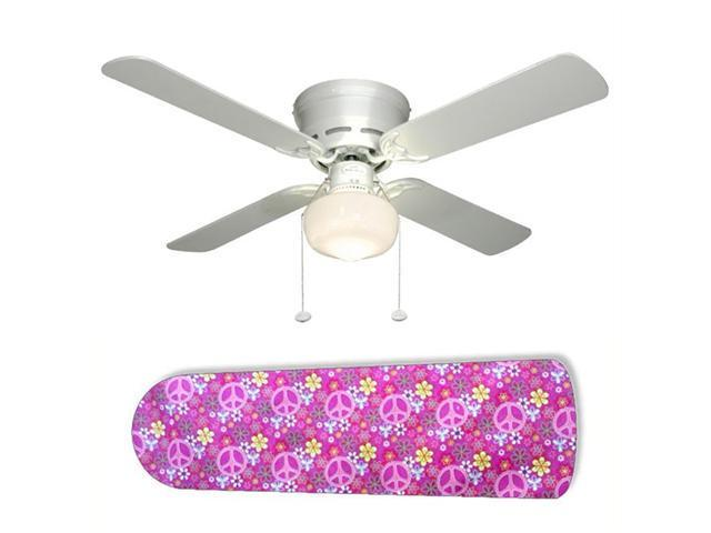 "Pretty Pink Peace Signs 42"" Ceiling Fan with Lamp"