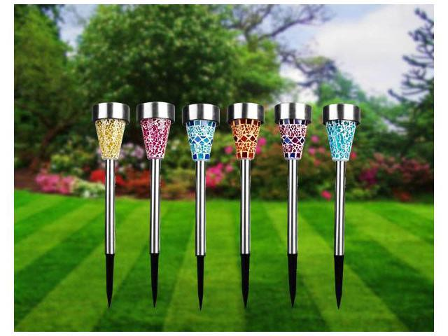 Solarek Stainless Steel Vas Mosaic Solar Lawn Garden Lights (6 Pack) - 6 Colors