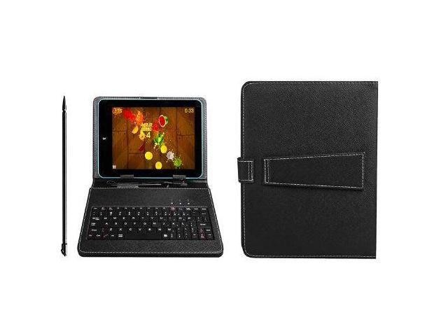 "PU Leather Carrying Case for 8"" Tablet Stand w/ USB Keyboard + Stylus Pen"