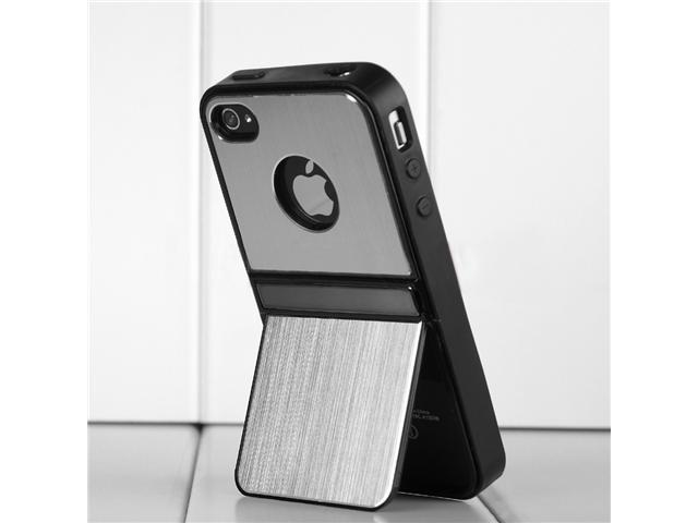Hard Back Cover Case Skin for iPhone 4/4S (Silver)