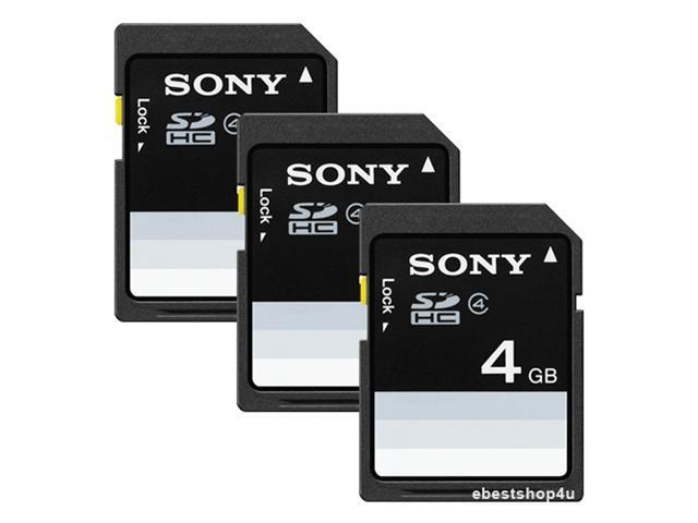 Sony SF4N4/TQM 4GB SDHC Flash Memory Card for Cameras Notebooks Laptop PC (3 Pack)