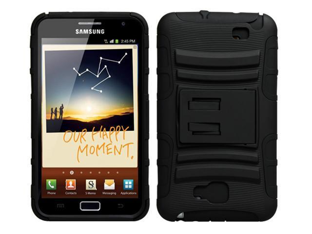 Rugged Hybrid Case Belt Clip Holster with Kickstand For Samsung Galaxy Note - Black