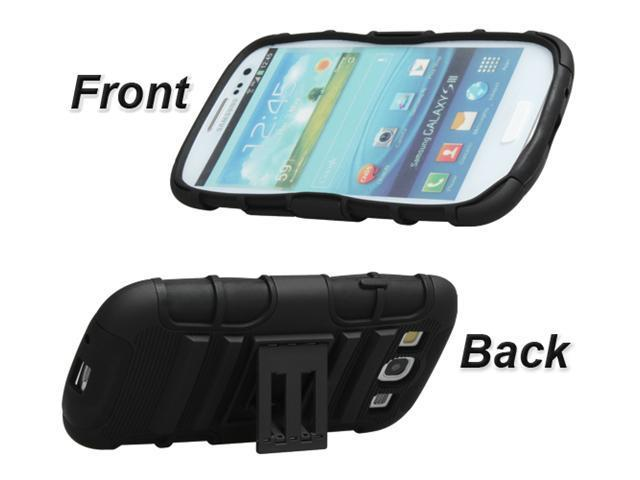 Rugged Hybrid Case Belt Clip Holster with Kickstand for Samsung Galaxy S3 III - Black