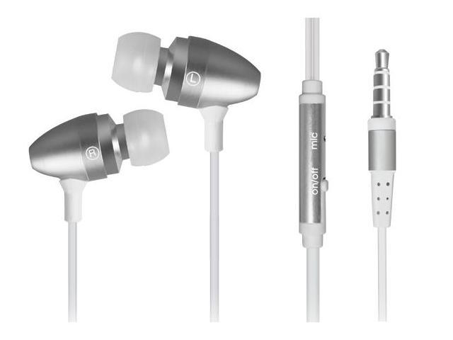 3.5mm In-Ear Stereo Headset with On/Off Switch and Mic (4-Pack: Black, Silver, Red, & Blue)