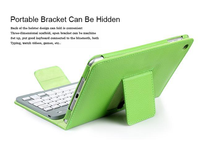 PU Leather Wireless Bluetooth Keyboard Case Folio Cover for iPad Mini with stand-Green