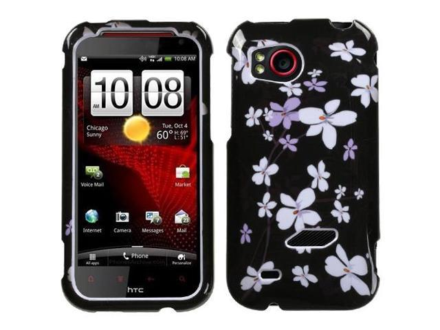 Black Wintersweet Flower Snap on Cover Protector Case for HTC Rezound ADR6425