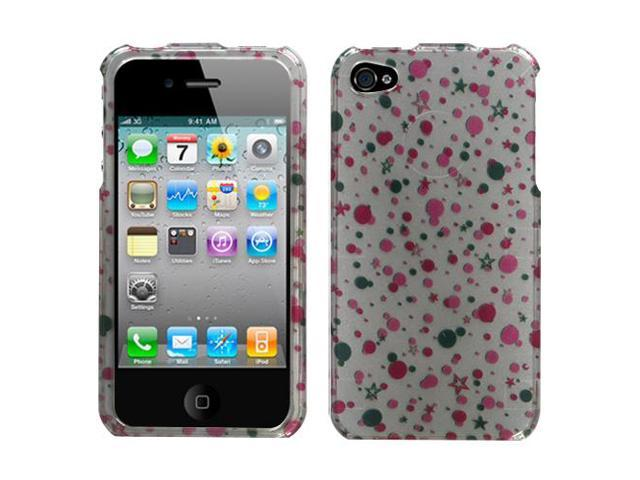 Polka Dots + Stars 2D Cover Protector Snap on Case for iPhone 4 4S