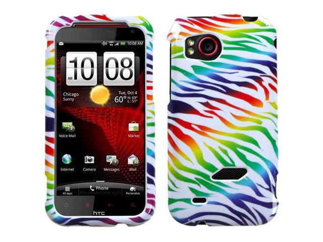 Colorful Rainbow Zebra Snap on Cover Protector Case for HTC Rezound ADR6425