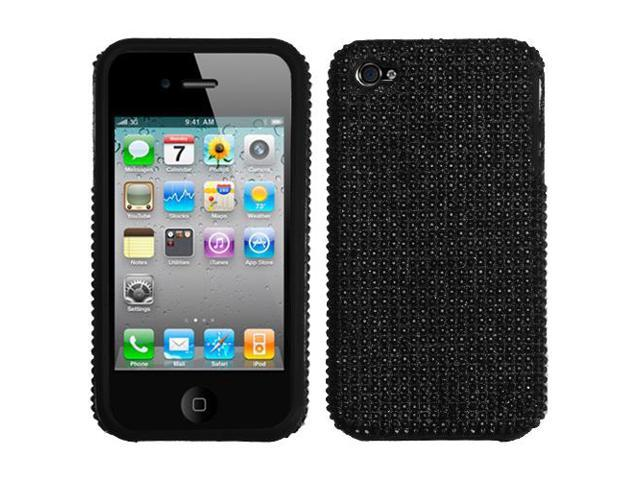 Black Bling Diamante Shell +Silicone Cover Hybrid Case - iPhone 4 4S