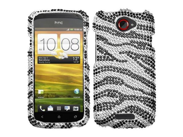 Black Zebra Jewel Diamante Cover Protector Case for HTC One S