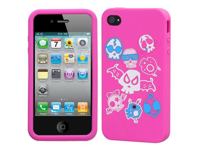 Colorful Skulls/Hot Pink Pastel Skin Cover Protector Case for iPhone 4 4S