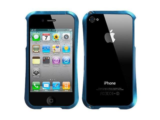 For iPhone 4s/4 Baby Blue Nitro Surround Shield with Chrome Coating Metal