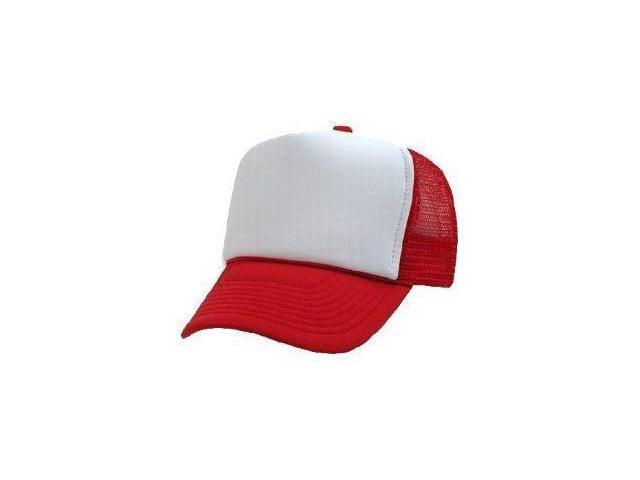 Trucker Adjustable Mesh Cap - Red and White