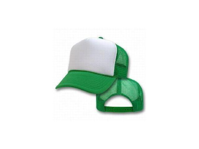 Trucker Adjustable Mesh Cap - Kelly Green and White