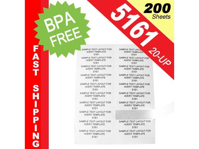200 Sheets 4000 Labels Same Size As Avery 5161 20 Up Shipping