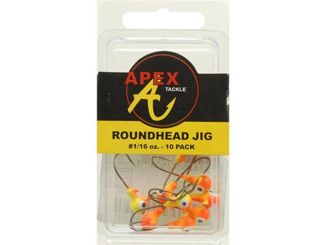 JIG HEADS 1/16 OZ 10PK CH/OR