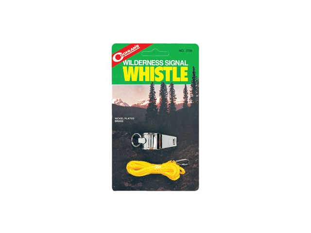 Camping Wilderness Nickel Plated Signal Whistle /lanyard