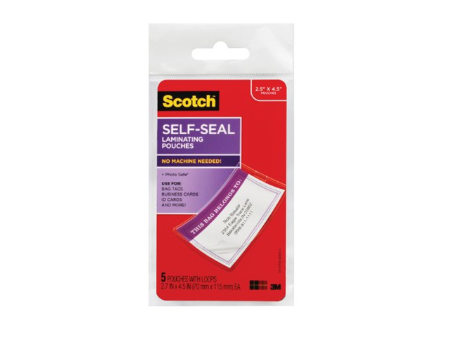 Scotch Self-Sealing Laminating Pouches with Loops , Glossy , 5 count pouches with loops (LS853-5G)
