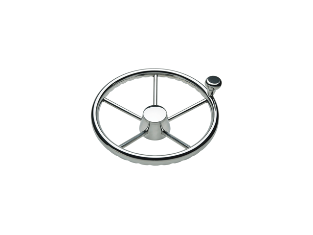 "Ongaro 170 13.5"" Stainless 5-Spoke Destroyer Wheel w/ Stainless Cap and FingerGrip Rim - Fits 3/4"" Tapered Shaft Helm"