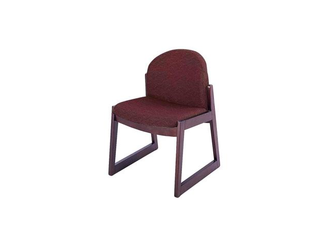 Safco Urbane Armless Guest Chair Polyester Burgundy, Olefin Seat - Wood Medium Oak Frame