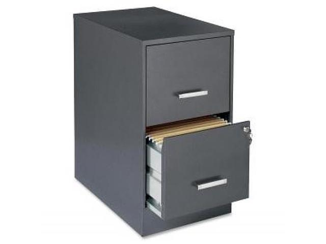 "Lorell 22"" Deep 2-Drawer SOHO - Locking Drawer, Pull Handle, Glide Suspension - Charcoal, Chrome"