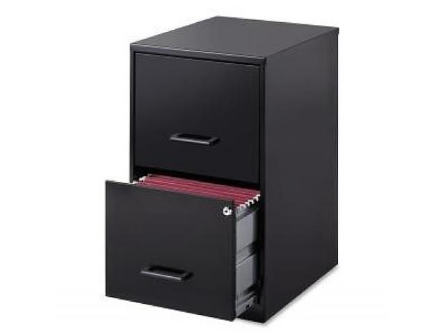 "Lorell 18"" Deep 2-Drawer - Locking Drawer, Pull Handle, Glide Suspension - Black"
