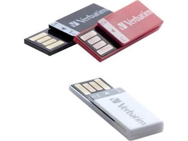 Verbatim Clip-It 8GB USB Flash Drive - 3 Pack - Black, White, Red Model 98674