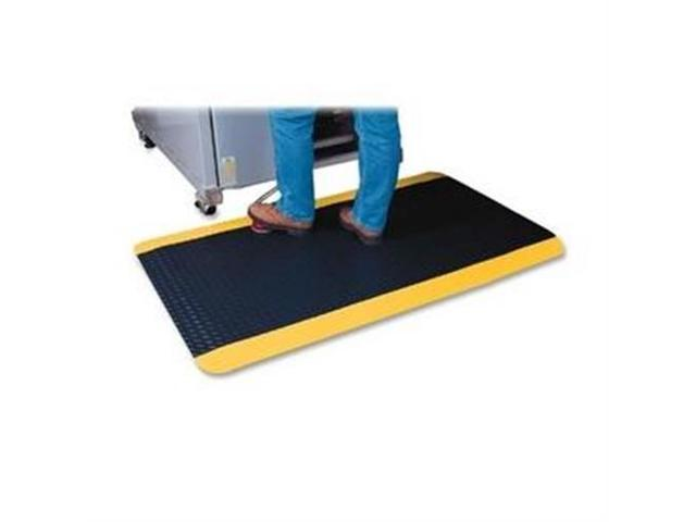 Anti-Fatigue Floor Mat Beveled Edge 3'x12' Black/Yellow