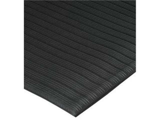Anti-Fatigue Mat, Vinyl Foam, Beveled Edge, 3'x5', Black
