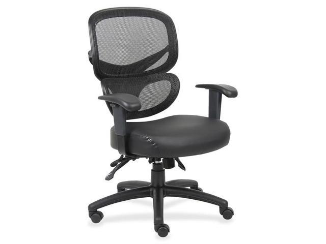 Lorell Mesh-Back Leather Executive Chair Black, Silver - Leather Black Seat - 27